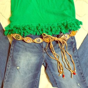 FLOWER BEADED TIE BELT